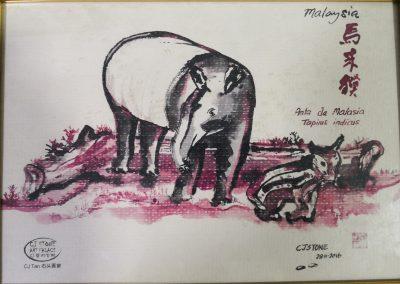 stone drawing tapir